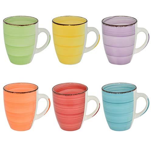 CREOFANT 6 teiliges Kaffeetassenset 350ml Steingut-Tassen Trink-Becher Teepot für Heiß-Getränke (bunt)