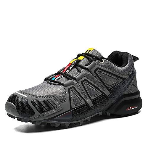 GPFSHOES Scarpe da Bici da Uomo Scarpe da MTB Antiscivolo, Sneaker da Mountain Bike Sportiva Traspirante Resistente all'Usura da Ciclismo su Strada,Grigio,45
