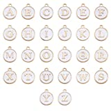 Cheriswelry 26 colgantes esmaltados con letras de la A a la Z de doble cara, chapados en oro para hacer pulseras y joyas