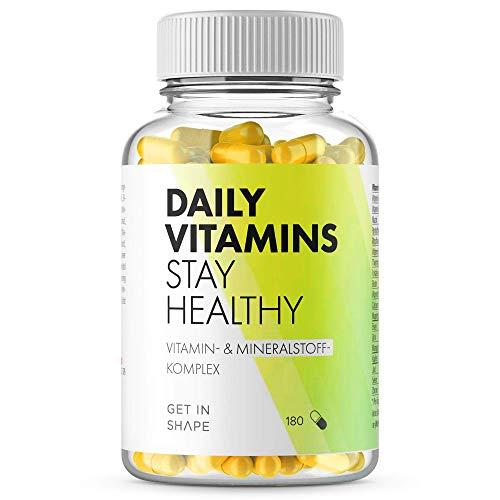 Daily Vitamins - Hochdosierte vegane Multivitamin Kapseln mit allen wichtigen Vitaminen und Mineralien, 180 Kapseln hergestellt in Deutschland | Get in Shape