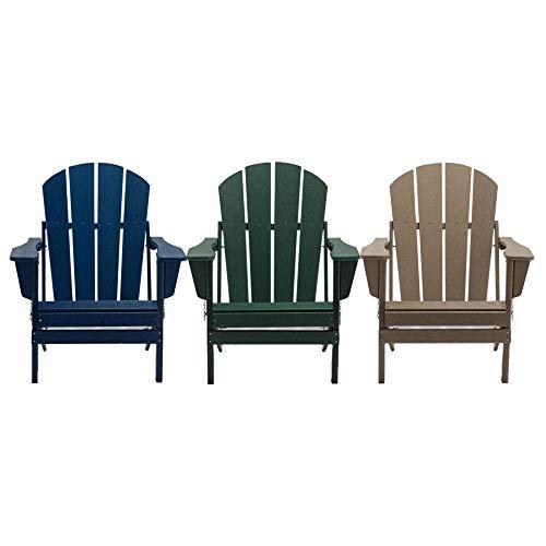 Green Polywood Adirondack Garden Chair - Classic Outdoor Armchair Lounger for Patio, Garden, Decking, Terrace or Balcony - Fade, Scratch & Weather Resistant Garden Patio Furniture