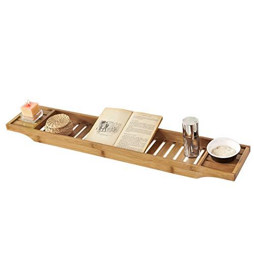 SoBuy® FRG212-N 80cm Lang- Schöne Badewannenablage aus Bambus Badewannenbrett Badewannenauflage Wannenbrücke BHT ca: 80x4,5x14,6cm
