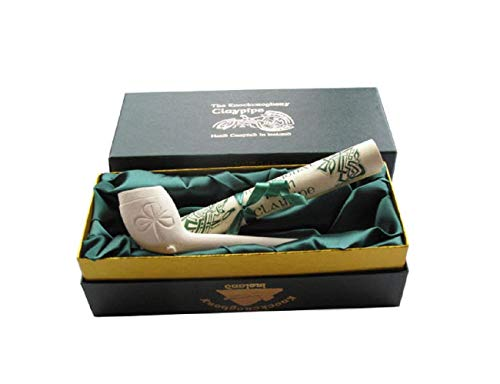 SchwartsCount Clay Pipe Shamrock Design Made in Ireland with Gift Box and Traditional Scroll