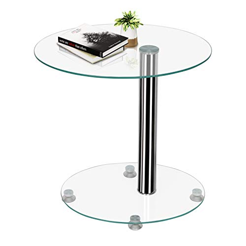 Joolihome End Table, Glass Bedside Sofa Side Table with Metal Frame, Small C Shaped Coffee Snack Table for Home, Office, Bedroom, Hallway, Living Room, Balcony
