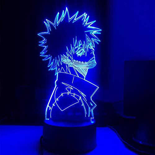 KAXIN Lámpara 3D Anime LED Luz Mi héroe Academia para dormitorio Decoración juvenil Luz nocturna 3D regulable con 16 colores cambiantes y mando a distancia, 7 colores sin mando a distancia