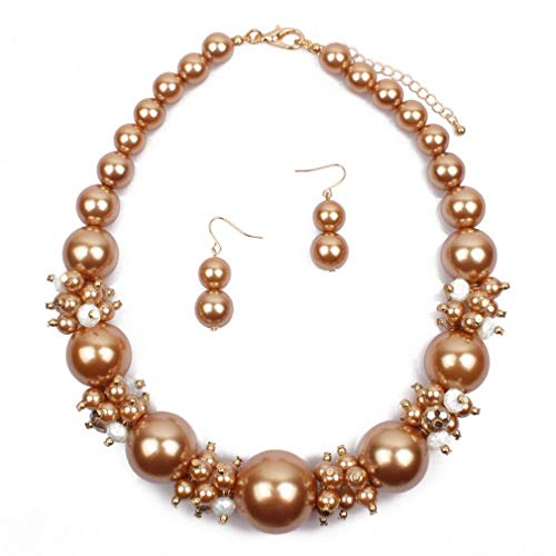 YAZILIND Exaggerated Large Imitation Pearl Necklace Fishhook Earrings Simple Short Clavicle Chain Ladies Wedding Party Jewelry Set(Gold)