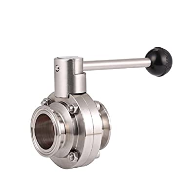 """BOKYWOX 1.5"""" Sanitary Stainless Steel 304 Tri Clamp Butterfly Valve with Silicon Seal Quick Connector from BokyWox"""