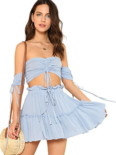 Floerns Women's Two Piece Outfit Off Shoulder Drawstring Crop Top and Skirt Set A Blue S