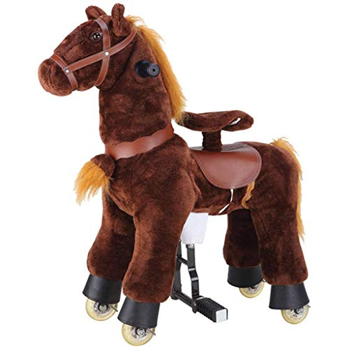 Riding Toys Ride on Horse Toy, Plush Walking Animal Dark Brown Horse, No Battery No Electricity Mechanical Pony. Unique Rocking Horse Giddy up, Go Go, Pony 28.3 inch Unique Gift for Age 3+ Years Pre-K