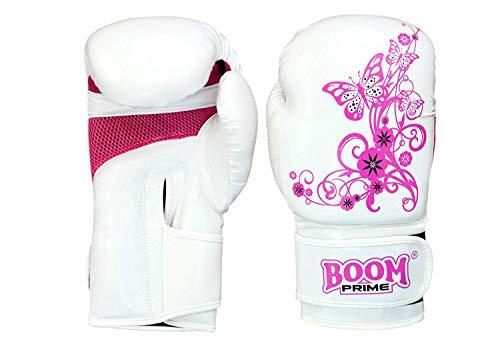 Boom - Guantes de boxeo para mujer (de gel), color blanco y rosa Talla:340 g