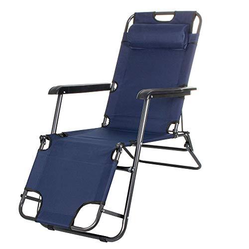 Tumbona de jardín Springos con reposacabezas, tumbona con mesa auxiliar, plegable, silla...