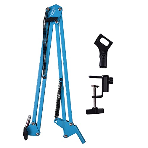 Kadence Microphone Suspension Boom Scissor Arm Mic Stand In different Colours, Orange, White, Red, Green, Blue and Black (Blue)
