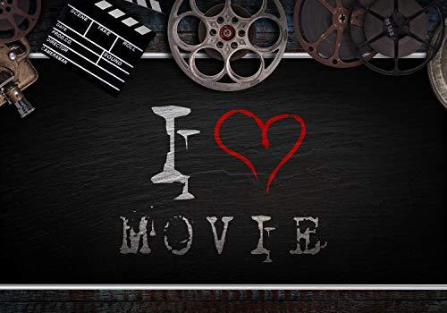 wandmotiv24 Fotobehang I LOVE MOVIE met filmrolletjes L 300 x 210 cm - 6 delen Fotobehang, muurschildering, motiefbehang, vliesbehang Film bioscoop Film bioscoop M5904