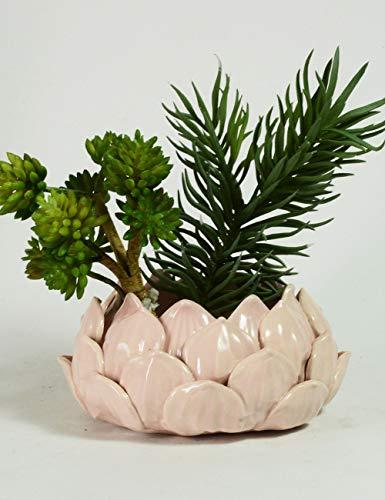 SEINHIJO Keramiek Bloemen Vaas Bloempot Planter Mooie Desktop Vensterbank Landschap Handwerk Lotus bloemblaadjes vorm Huisdecoratie Geschenkdoos Roze kleur 15cm Diameter(Zonder Plant)