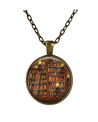 Collar de biblioteca, joyería bibliotecaria, estante de libro, joyería para escritor, regalo para libro de escritura, regalo para bibliotecario