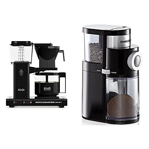 Moccamaster Filter Kaffeemaschine KBG Select, 1.25 Liter, 1520 W, Black & ROMMELSBACHER Kaffeemühle EKM 200 – 2-12 Portionen, Füllmenge Bohnenbehälter 250 g, 110 Watt, schwarz