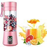 Portable Blender, Milk Shake Smoothie Maker Mini Size with Six Blades, 400ML USB Rechargeable Juicer Machine Cup, Hand Held Personal Blender for Home, Outdoor, Travel, Office