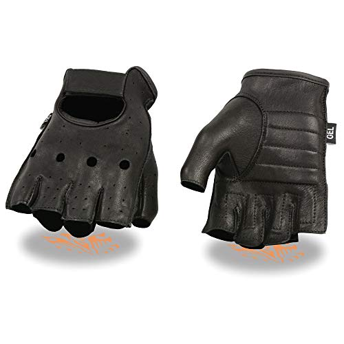 Milwaukee Leather SH851 Men's Black Deerskin Fingerless Gloves with Gel Palm - Large