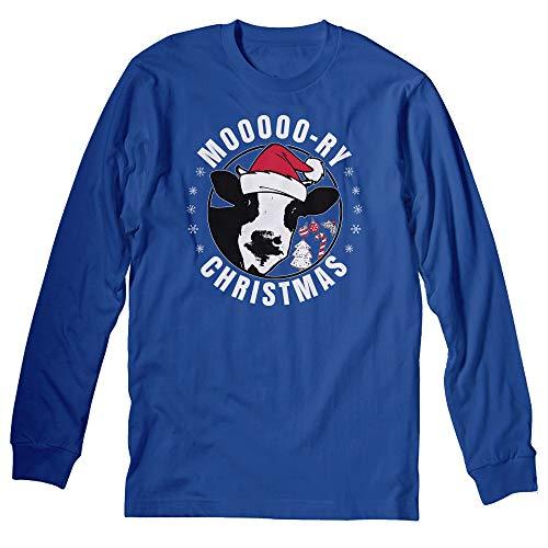 Ugly Christmas Sweater Long Sleeve Shirt - Moo-Ry Christmas - Royal-XL