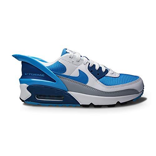 Nike Air MAX 90 FLYEASE, Zapatillas para Correr Hombre, White White Industrial Blue Laser Blue, 43 EU