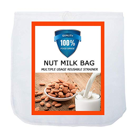Carrollar Nut Milk Bag, Pro Quality Multiple Usage Reusable Food Strainer, Cold Brew Coffee Bag Cheese Cloth, Ultra Fine Nylon Mesh Food Grade BPA-Free for Almond/Soy Milk, Juice, Coffee, Tea, 12'x12'