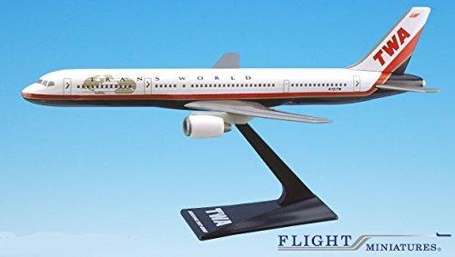 TWA (95-01) 757-200 Airplane Miniature Model Plastic Snap-Fit 1:200 Part#...