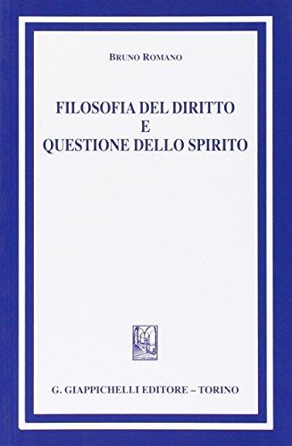 Filosofia del diritto e questione dello spirito