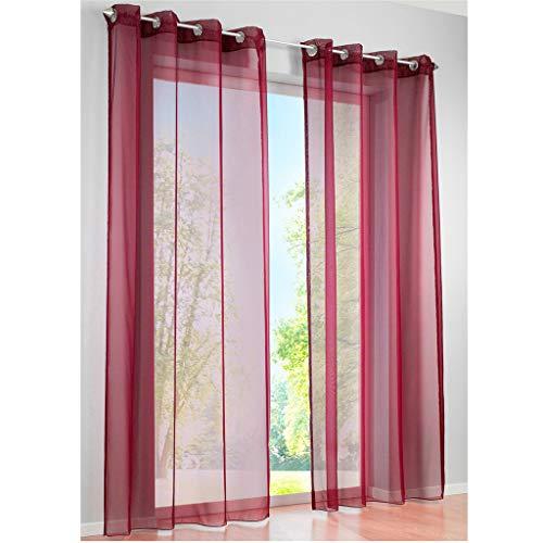 SIMPVALE 2 Paneles Cortinas con Ojales Translúcida Visillos para Dormitorios Habitación Salón Balcón,Rojo Vino,140cm x 245cm