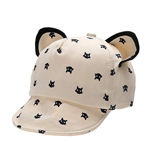 litty089 süße Katzenohren, Verstellbarer Sonnenschutz, geeignet für Kinder, Jungen, Mädchen, atmungsaktiv, Baseballkappe beige