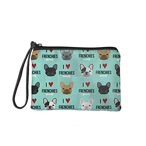 PHAYON French Bulldog Print Women Lady Cash Coin Purse Cosmetic Bags Zipper Change Pouch Portable Hnadbag with Wristlet Cute Gifts