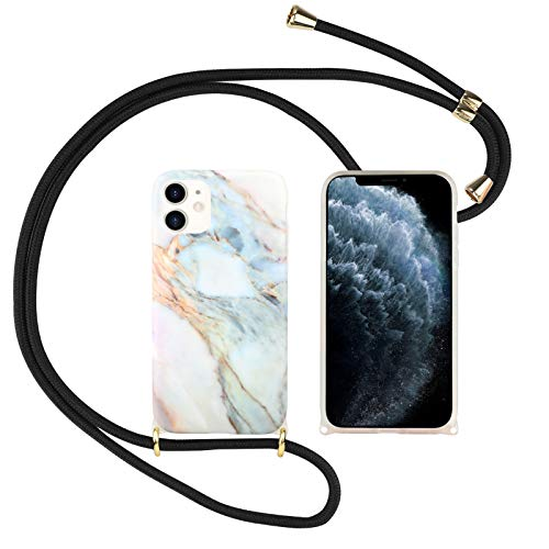 Suhctup Compatible con iPhone 6 Plus/6S Plus Funda con Cuerda TPU Suave Silicona Mármol Diseño Carcasa con Colgante Ajustable Collar Correa de Cuello Cadena Cordón Bumper Caso,A13