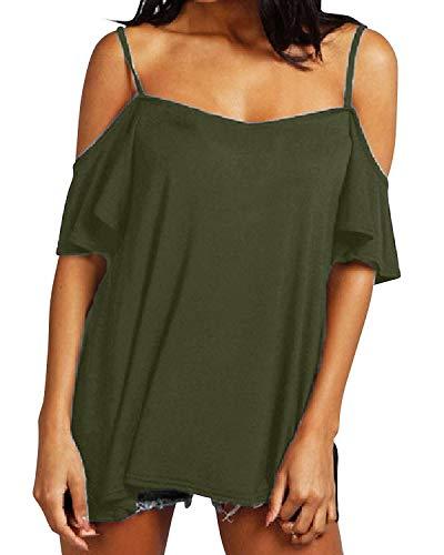 Style Dome Camiseta Mujer de Manga Corta Camisas con Hombros Fríos Color Sólido Sexy con Cuello Redondo Tops Tallas Grandes Mujer 1-Verde Militar 46