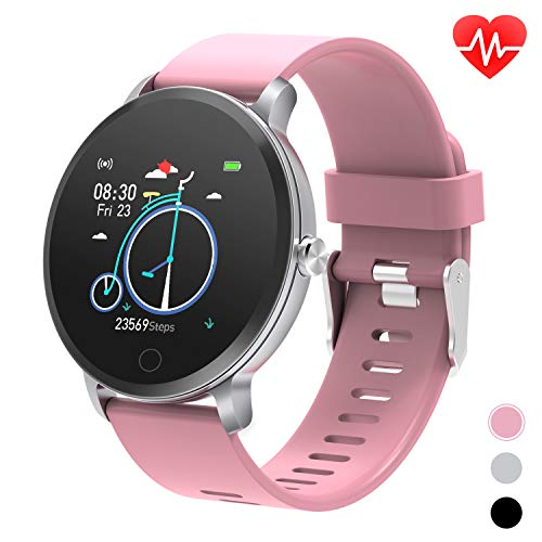 """moreFit 1.3"""" Round Smart Watch with Heart Rate Blood Pressure Monitor, Fitness Tracker Watch Activity Tracker for Men, Waterproof Fitness Watch Sleep Monitor Step Counter Sport Watches for Women, Pink"""