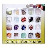 Jovivi 20 Mini Crystal Gemstones Chakra Stone Healing Balancing Kit with Box for Collectors, Crystal & Reiki Healers and Yoga Practioner