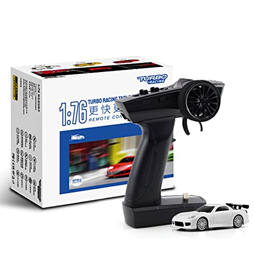 tengod Turbo Racing 1:76 Mini Coche deportivo teledirigido con mando a distancia P21 extraíble, 2,4 GHz, simulador de mando a distancia eléctrico, modelo de bolsillo, color blanco