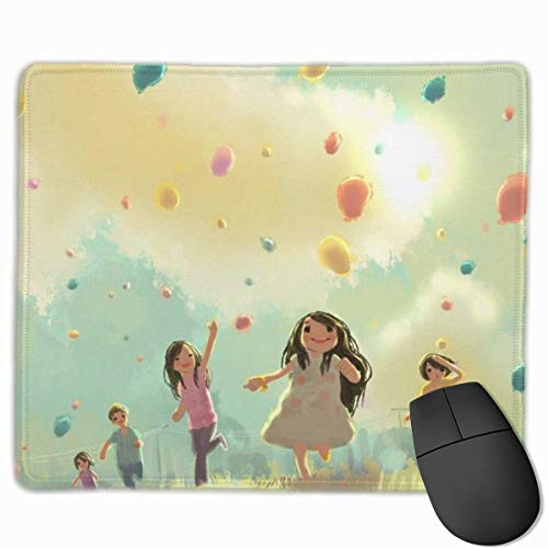 sfdgd Girl with Rainbow Marshmallow Rectangular Non-Slip Gaming Mouse Pad Keyboard Rubber Mouse Pad for Home and Office Laptops