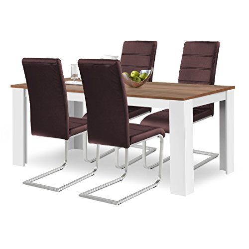 agionda® Esstisch Stuhlset : 1 x Esstisch Toledo 160 x 90 Nussbaum/Weiss 4 Freischwinger Kunstleder PU braun