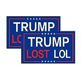 2-Pack Trump Lost LOL Bumper Sticker Decal, Anti Trump Decal-Trump Lost LOL Decals for Laptop Car Bumper Window Decorations,Vivid Color and UV Fade Resistant 3x5'