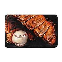 屋内屋外用途ドアマット 19.5*31.5 inchポリエステル製ラバーノンスリップバスルームマット 野球 黒 ボールマット