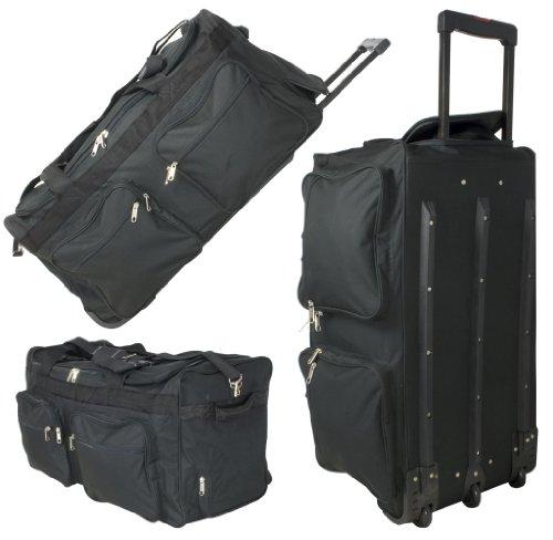 Monopol reistas op wieltjes, sporttas, vrijetijdstas 80 cm, met 3 rollen, 128 liter, zwart