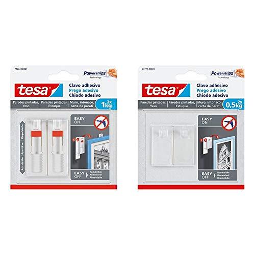 Tesa Clavo adhesivo ajustable, ideal para cuadros, para paredes pintadas y yeso + TE77772-00001-00 SMS Clavo Adhesivo hasta 0,5Kg para Pared Pintada, Standard, Set de 2 Piezas