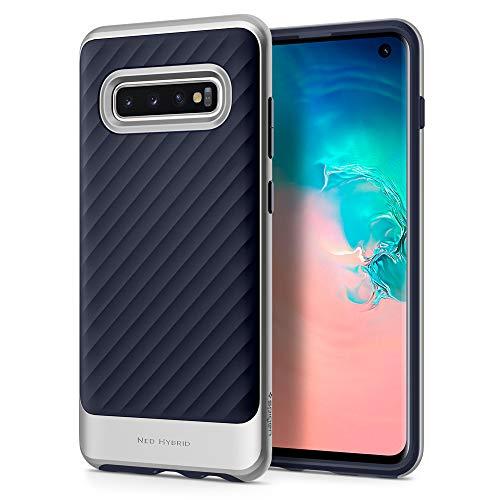 Spigen 605CS25811 Neo Hybrid Kompatibel mit Samsung Galaxy S10 Hülle, Zweiteilige Modische Muster Silikon PC Rahmen Schutzhülle Case Arctic Silber