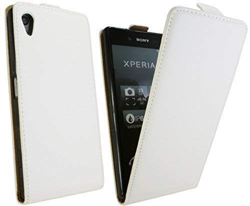ENERGMiX Handytasche Flip Style kompatibel mit Sony Xperia Z5 Dual SIM E6683 in Weiß Klapptasche Hülle