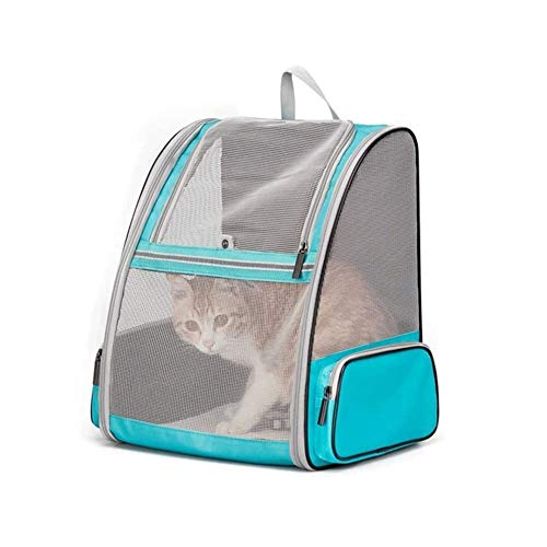 Dog Backpack Carrier Puppy Carrier Bag Pet Carrier Backpack For Dogs Cats Mesh Transport Bag Foldable Transparent Good Ventilation With Wire Structure Stable Rucksack Two Sided Entry For Travel And Da