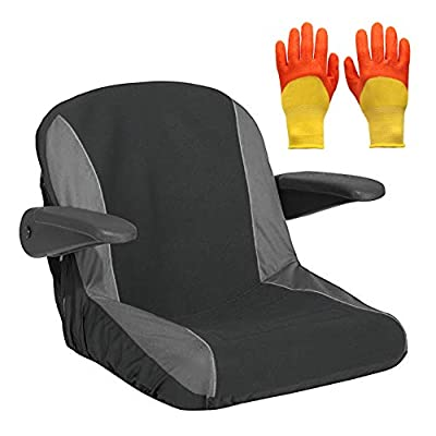 Taslett - Waterproof Neoprene Lawn Mower Tractor Seat Cover Complete with Pair of Gardening Gloves Size Small