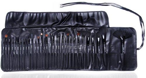 Set/Kit de pinceaux cosmétiques de maquillage professionnel par Gals: étui élégant de 32 pinceaux