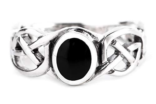 WINDALF Celtic Damen Ring NORAN h: 0.8 cm Eleganter Schwarzer Onyx mit Zopfmuster 925 Sterlingsilber (Silber, 60 (19.1))