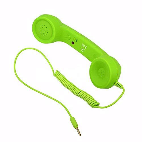 Oyria Retro mobiele telefoon-oortjes, anti-straling, vintage, bedrade telefoon, 3,5 mm, handset met microfoon, voor iPhone en Android
