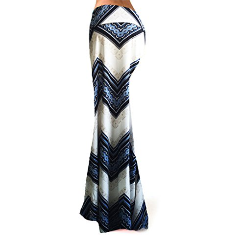 Novias Boutique - Maxi-gonna a pieghe, a vita alta, da donna, perfetta come regalo di Natale, alla moda bianco e blu X-Large