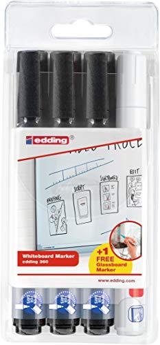 edding 360 - Whiteboard-Marker + 1 x Edding 90 Glasboard-Marker Gratis - Schwarz, Weiß - 2-3 mm - 3+1 Set - Stifte zum Schreiben und Markieren auf Whiteboards, auch für Flipcharts